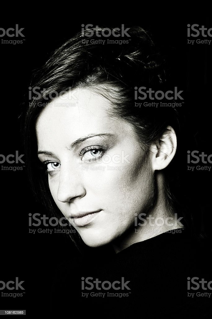 Portrait of Young Woman, Toned royalty-free stock photo
