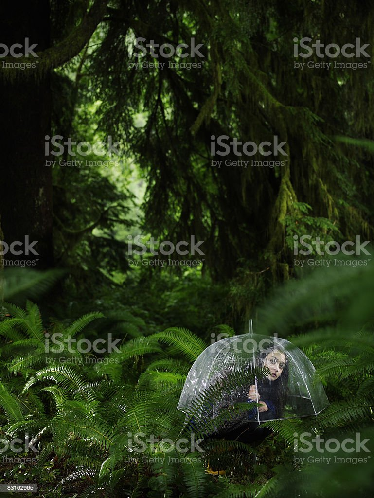 Ritratto di giovane donna con ombrello nella foresta. foto stock royalty-free