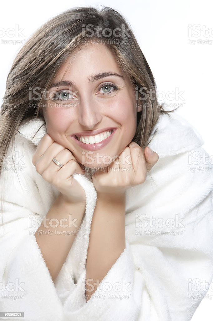 Portrait of young woman wearing bathrobe royalty-free stock photo