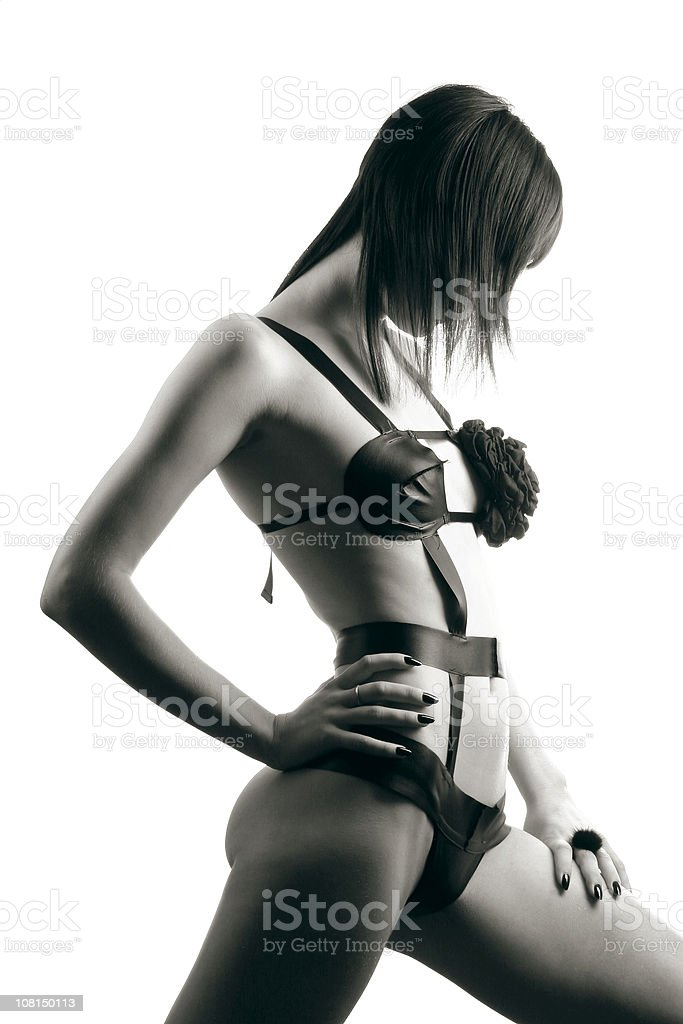 Portrait of Young Woman Wearing Bodysuit, Black and White stock photo