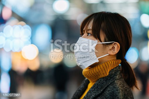 A portrait of a young woman wile wearing a face mask for protection from cold and flu and viruses.