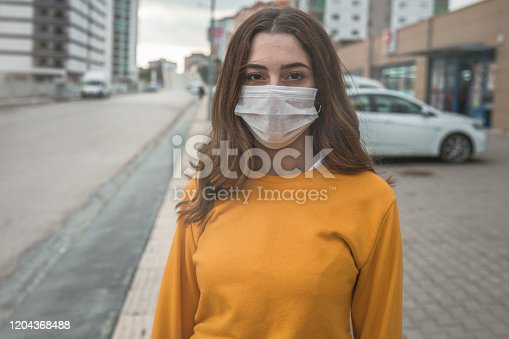 Portrait of young woman wearing face mask