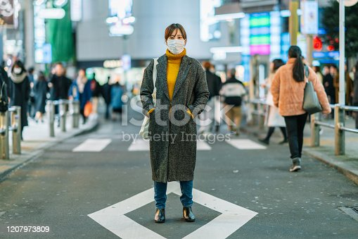 istock Portrait of young woman wearing face mask 1207973809