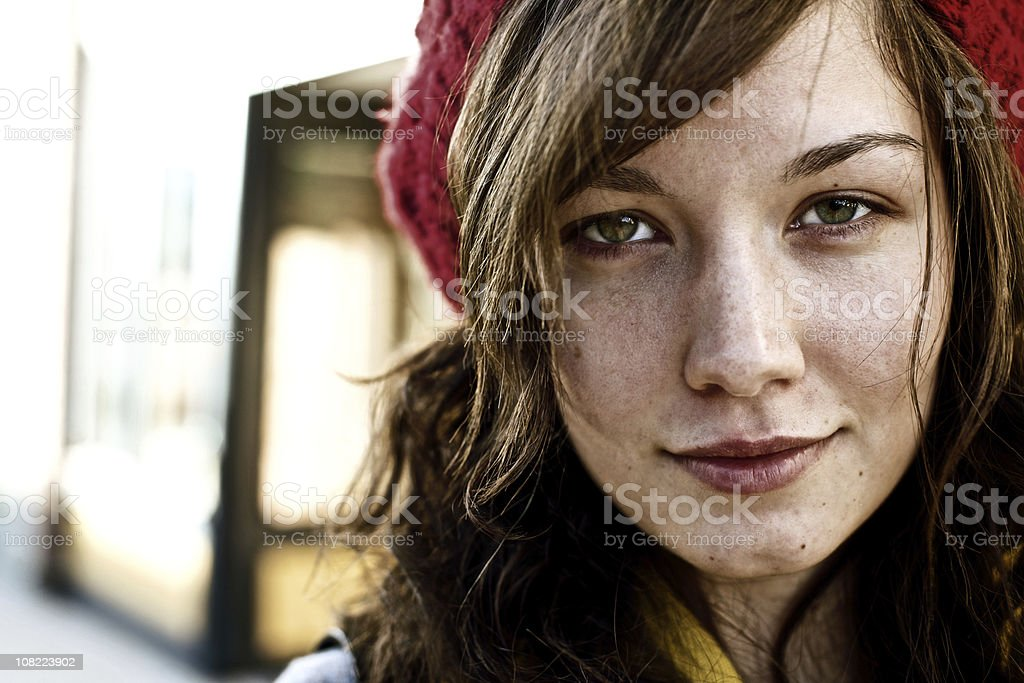 Portrait of Young Woman Wearing Knit Hat royalty-free stock photo