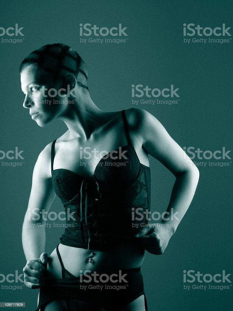 Portrait of Young Woman Wearing Lingerie, Toned royalty-free stock photo