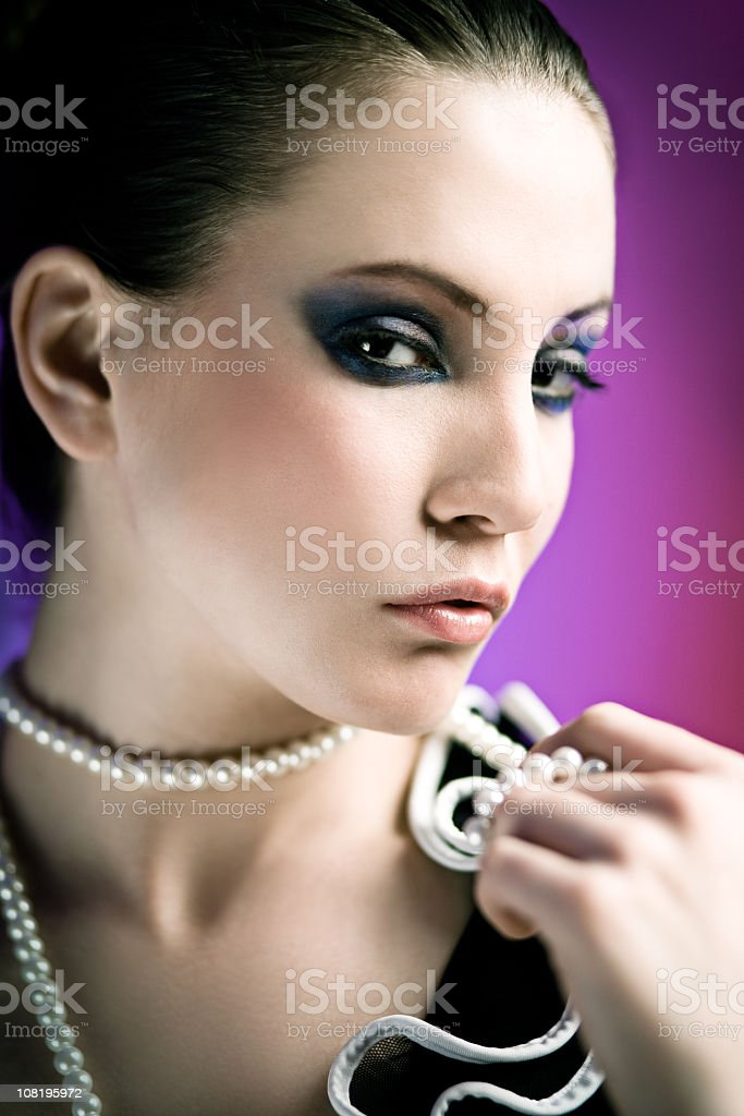 Portrait of Young Woman Wearing Make-up royalty-free stock photo