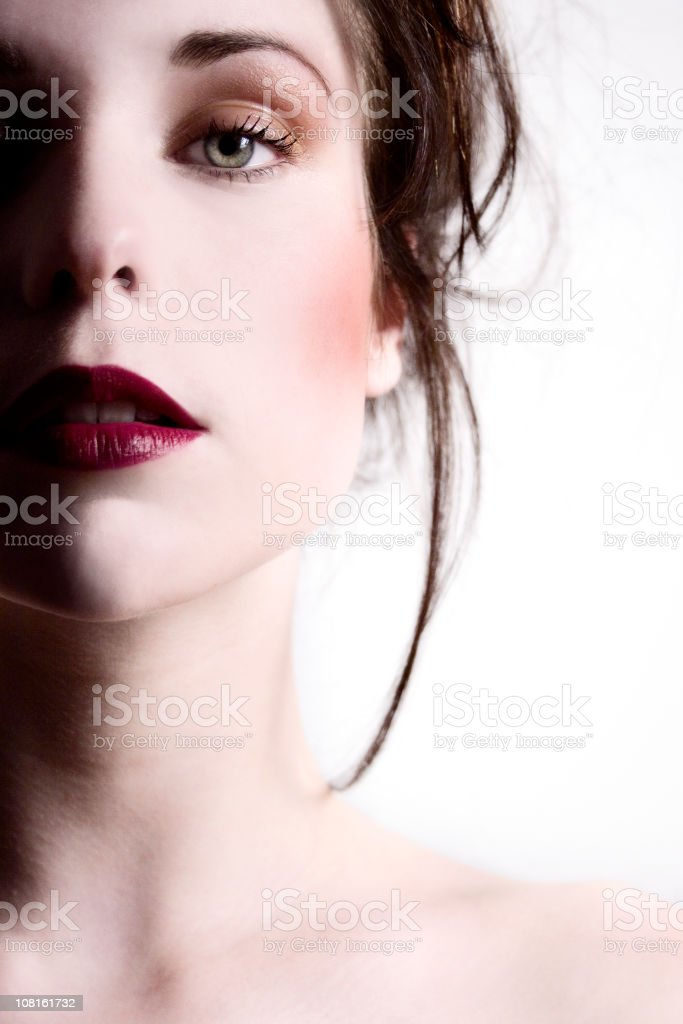 Portrait of Young Woman Wearing Red Lipstick royalty-free stock photo