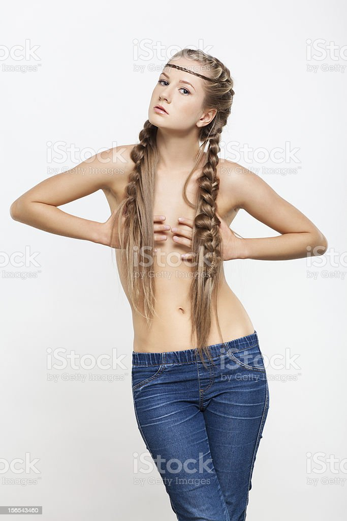 Portrait of young woman with braid hairdo royalty-free stock photo
