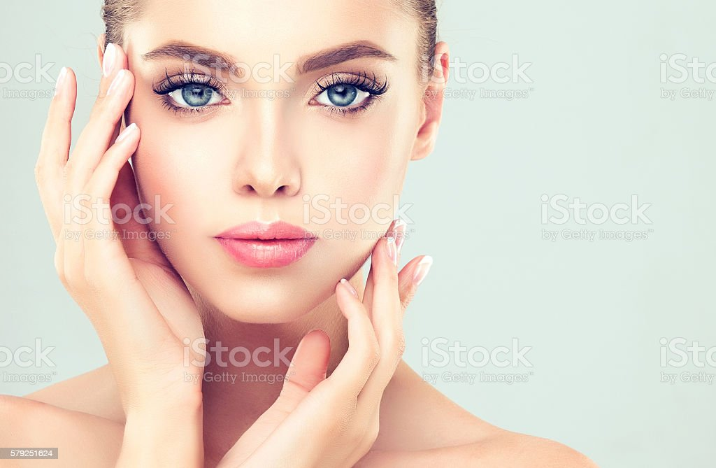 Portrait of young woman with clean fresh skin. stok fotoğrafı