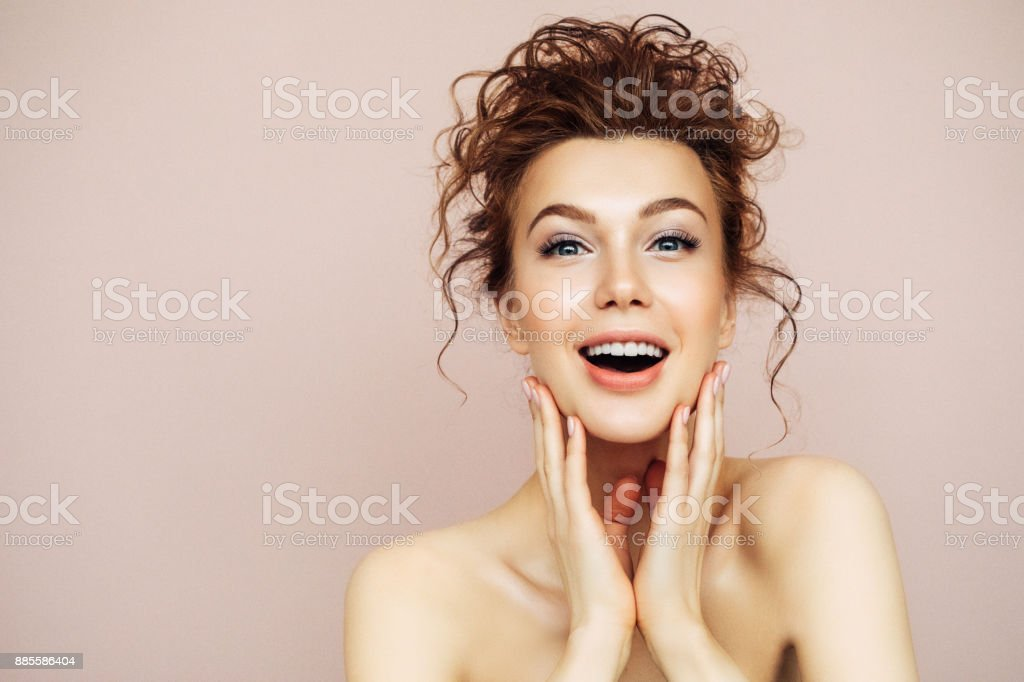 Portrait of young woman with clean fresh skin stock photo