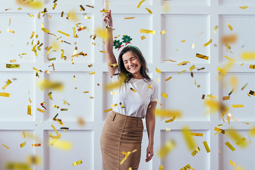 Portrait Of Young Woman With Glass Celebrate Christmas Or New Year Stock Photo - Download Image Now