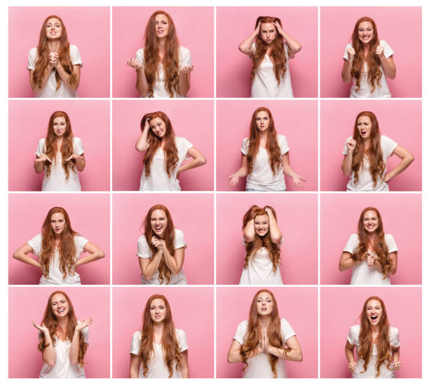 portrait of young woman with happy and unhappy facial expressions - excited emoji stock photos and pictures
