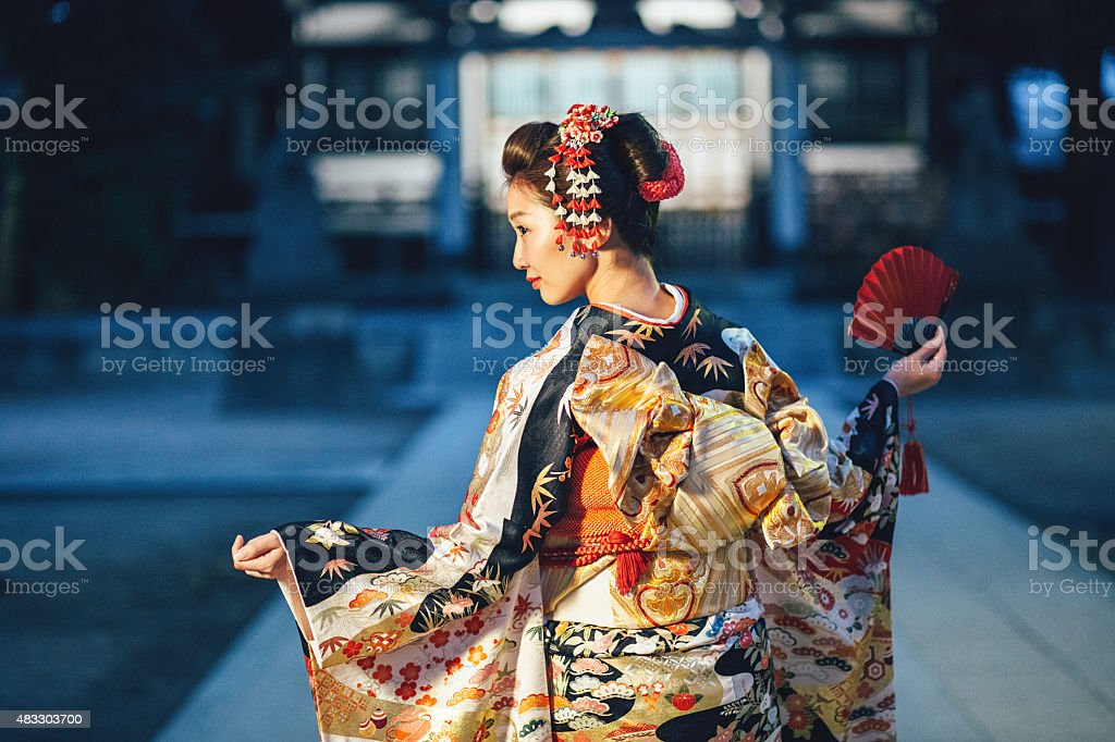 Portrait of young woman with kimono in Japan stock photo