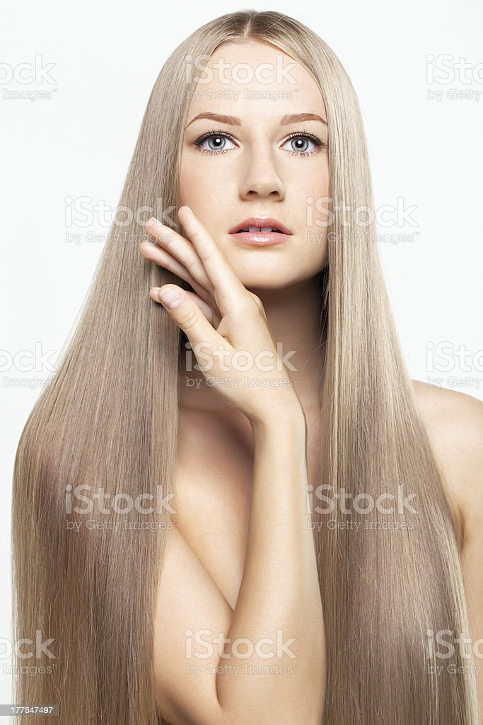 Portrait of young woman with long hair royalty-free stock photo