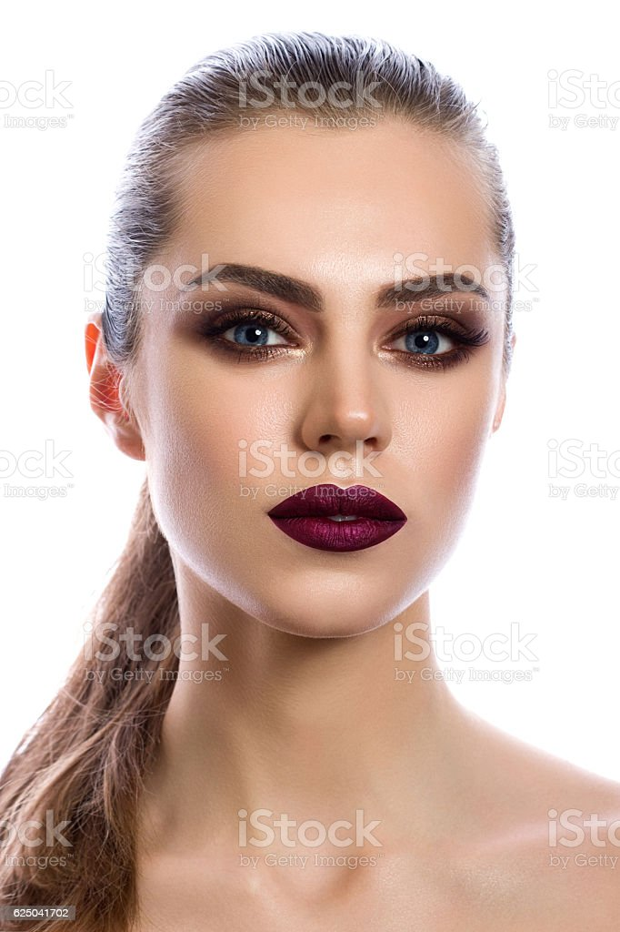 Portrait of young woman with modern makeup stock photo