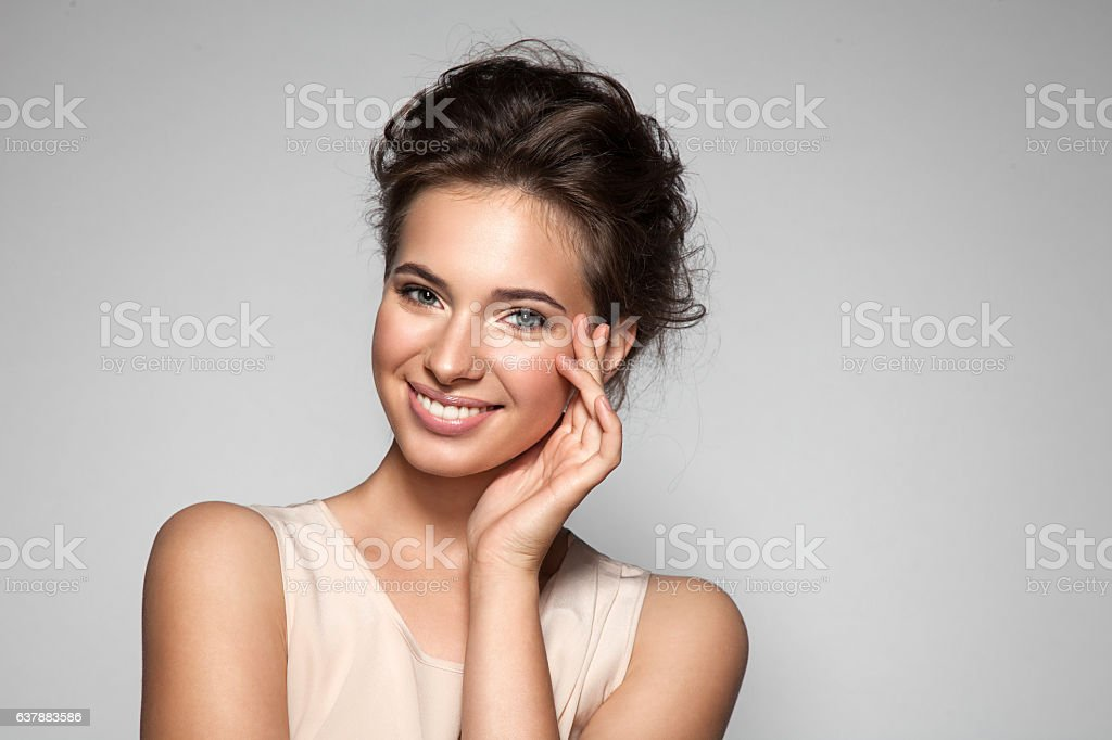 Portrait of young woman with perfect skin stock photo