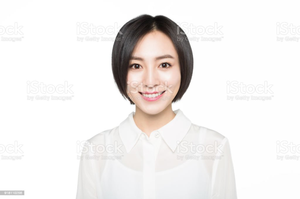 portrait of young woman,white background stock photo