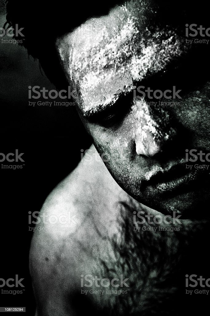 Portrait of Zombie Man with Cracked and Infected Skin royalty-free stock photo