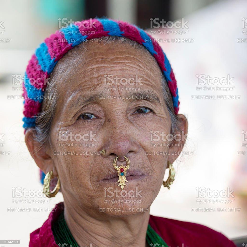 Portrait old women in traditional dress in street Kathmandu, Nepal stock photo