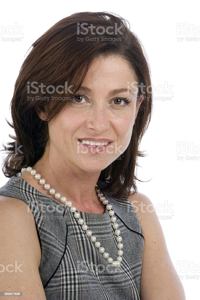 portrait on white background of a forty years old woman royalty-free stock photo
