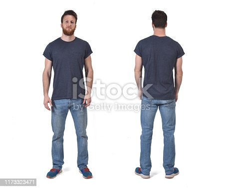 portrait of a man of front and back isolated on white