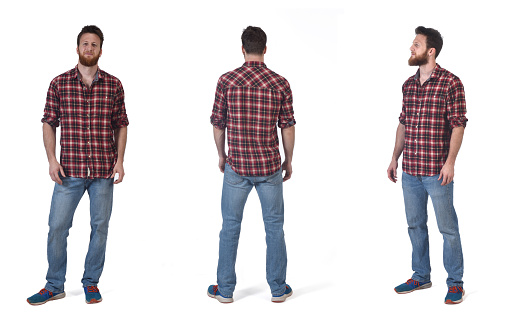 front, back and  profile with a man with  plaid shirt on white background