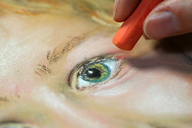 portrait de peinture - dessin au pastel photos et images de collection