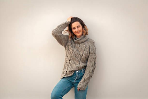 Portre pf genç bir güzellik esmer kadın stok fotoğrafı