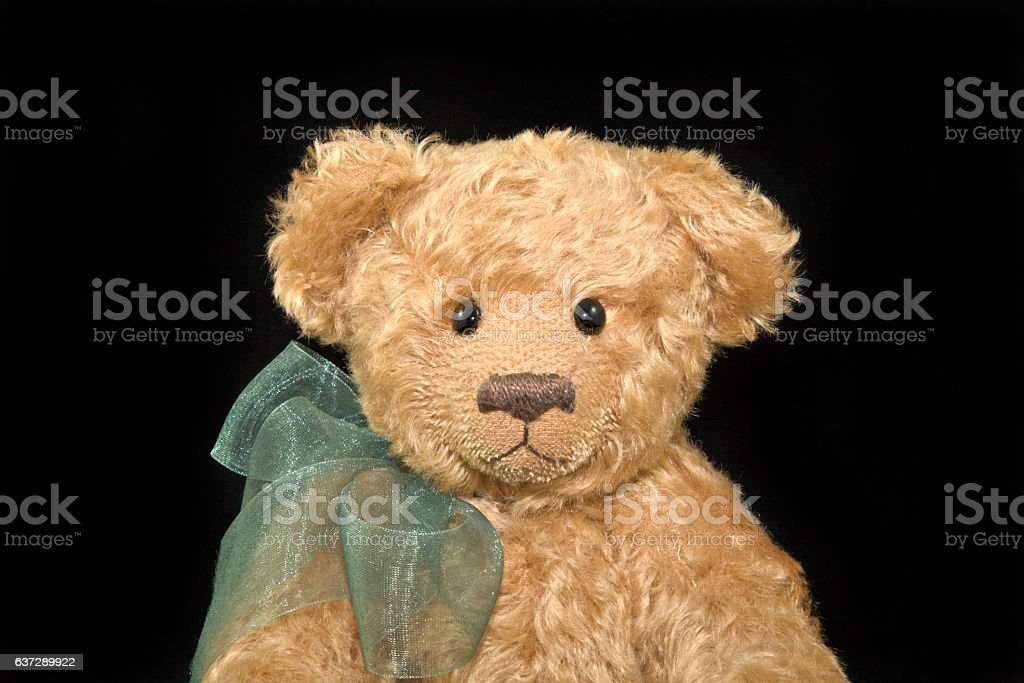 Portrait pf Light Brown Teddy Bear With Green Ribbon royalty-free stock photo