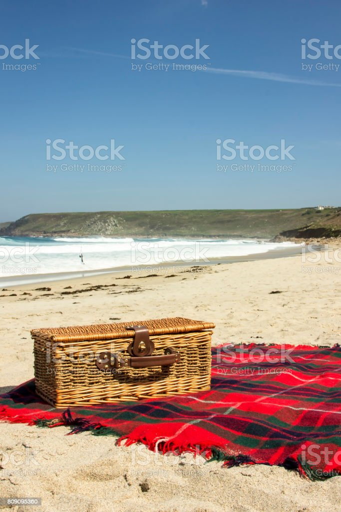 Portrait picnic on the beach stock photo