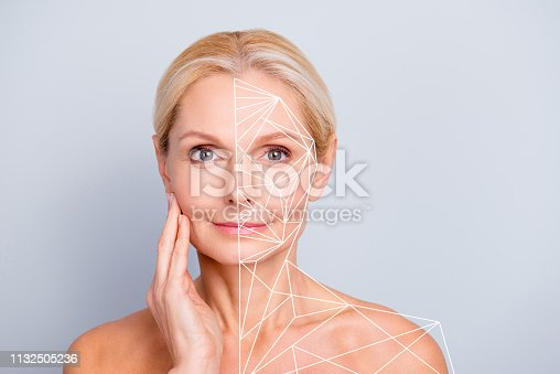 istock Portrait pretty attractive charming naked nude she her woman touching her  perfect skin after peeling lotion mask hydration highlighted facial parts lines sketch  isolated grey background 1132505236