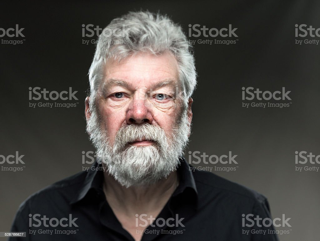 portrait real man with beard, looking straight in camera stock photo