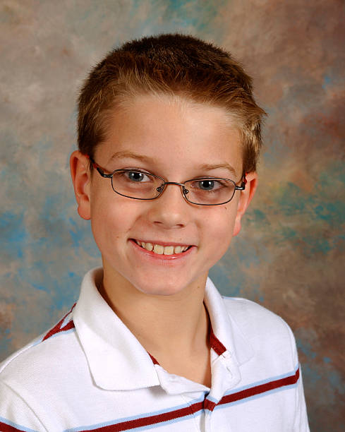 Portrait, School Yearbook Picture Boy Age Nine stock photo