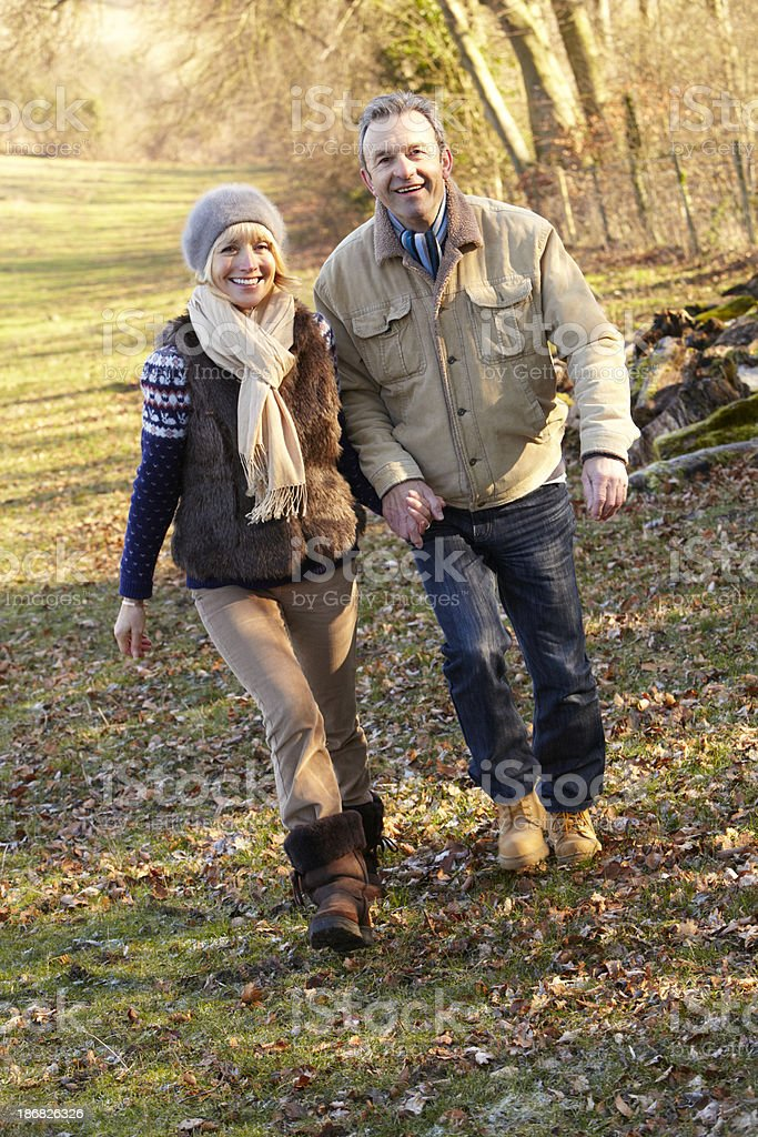 Portrait senior couple outdoors in winter royalty-free stock photo