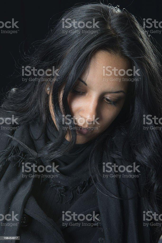 Portrait serious gypsy woman stock photo