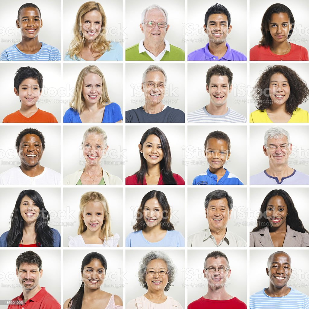 Portrait set of racially diverse people stock photo