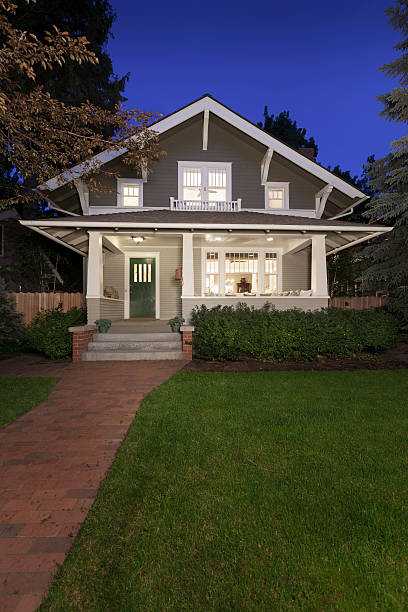 portrait shot of a classic american house front entrance - bungalow stock photos and pictures