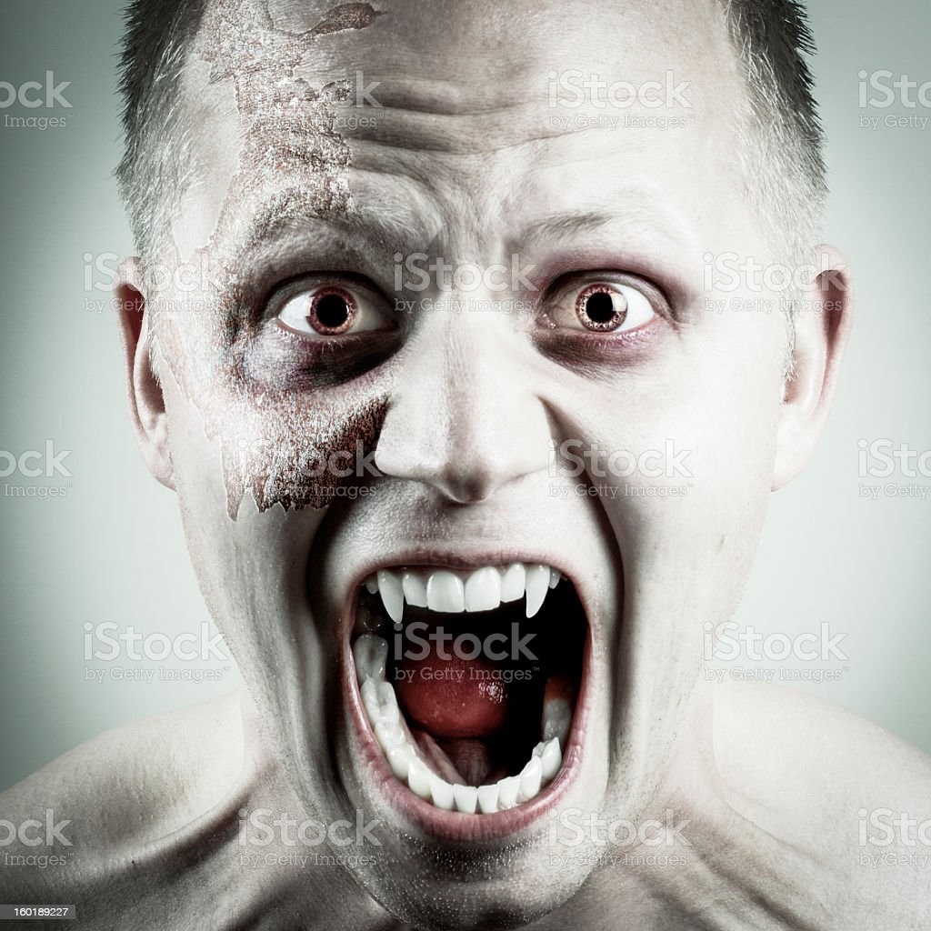 A portrait shot of a vampire face stock photo