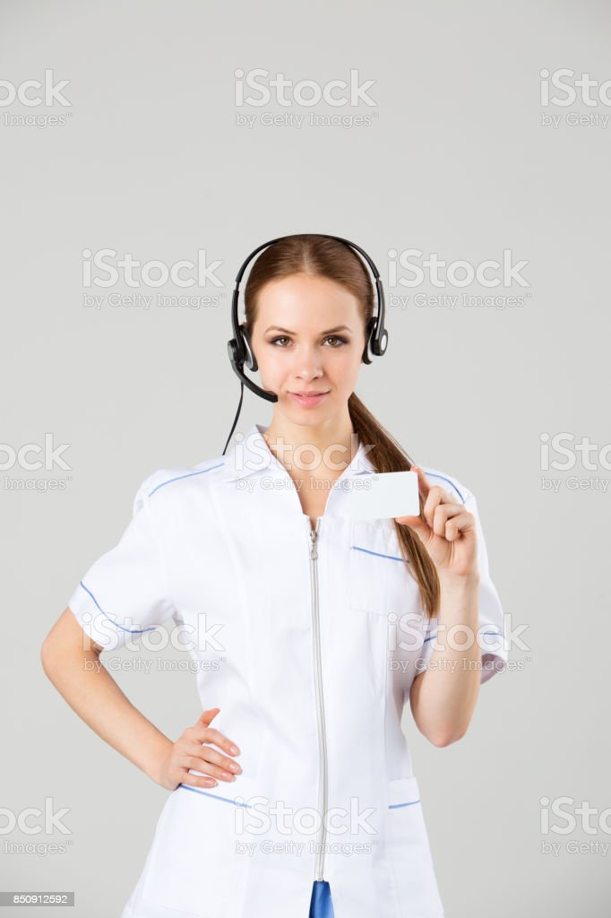Portrait smiling cheerful support phone operator in headset. stock photo