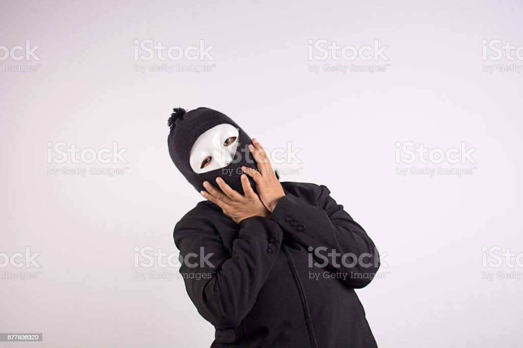 Portrait thief woman  show hands. royalty-free stock photo