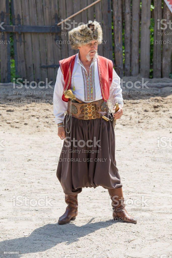 Portrait Ukrainian man, Khortytsya, Ukraine stock photo