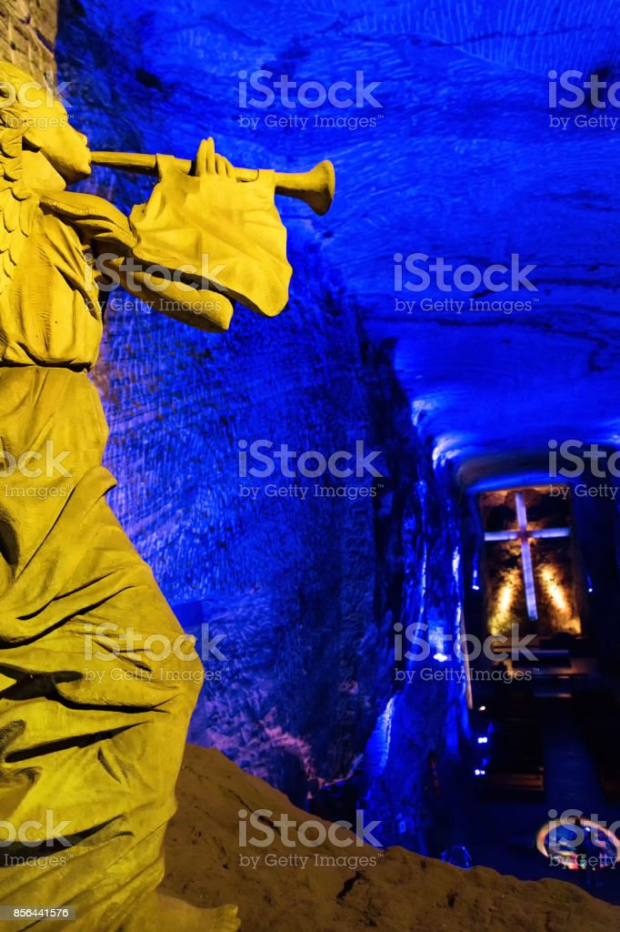 Portrait view of Angel and Cross at Zipaquira Salt Cathedral stock photo