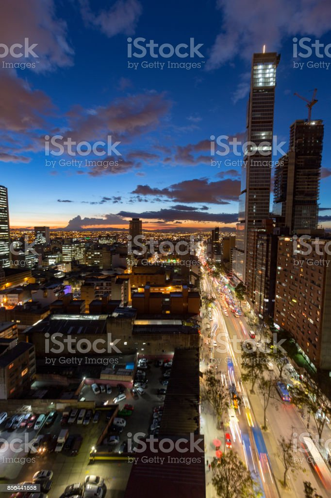 Portrait view of Bogota in the evening stock photo