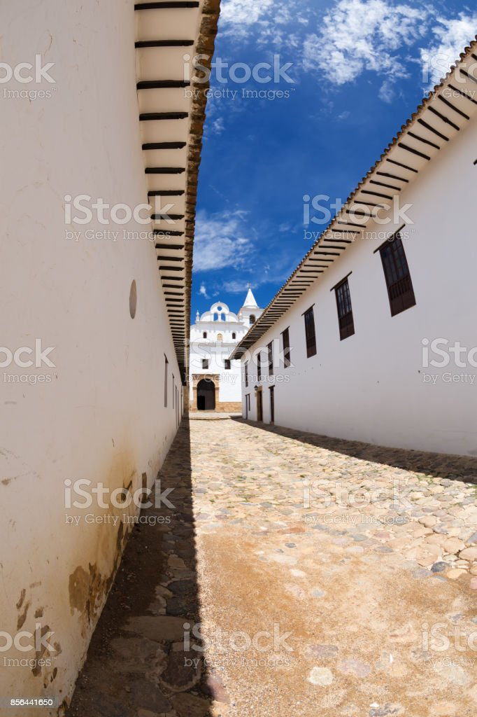 Portrait view of Church and convent of San Francisco stock photo