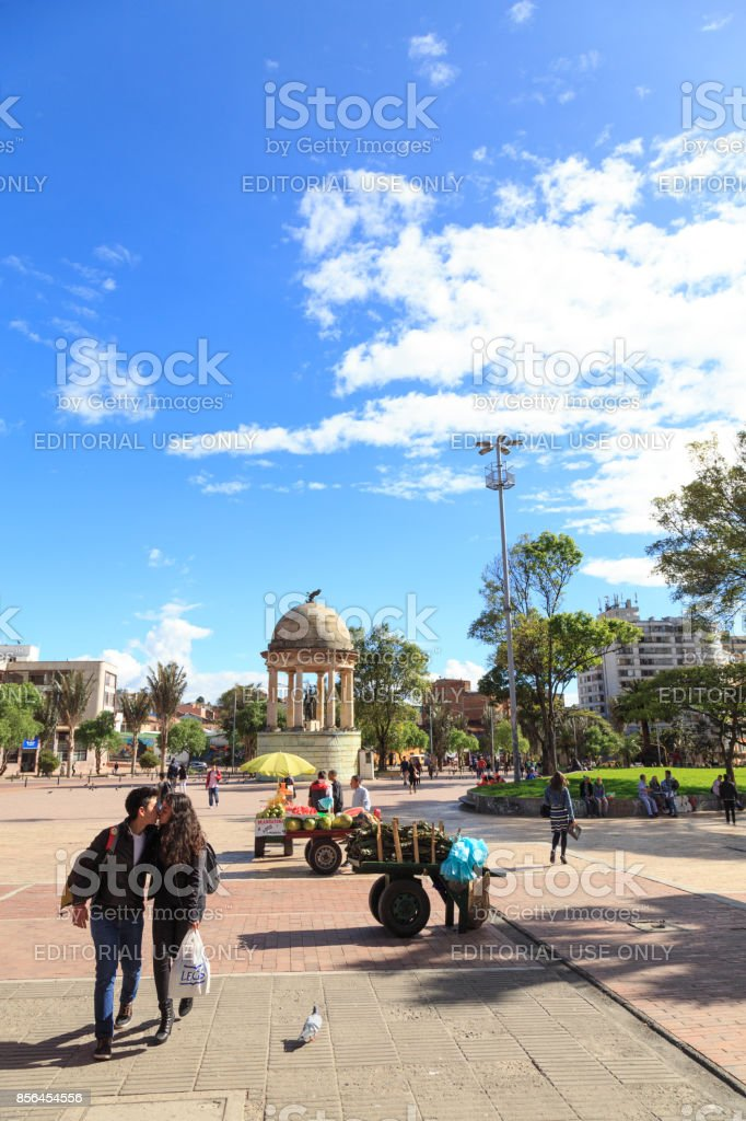 Portrait view of People in the Parque de Los Periodistas stock photo