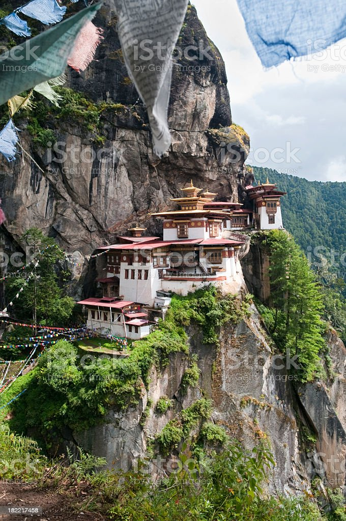 Portrait view of Tiger's Nest Monastery in Bhutan royalty-free stock photo