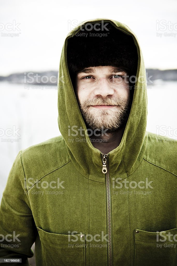 Portrait with a green coat. stock photo
