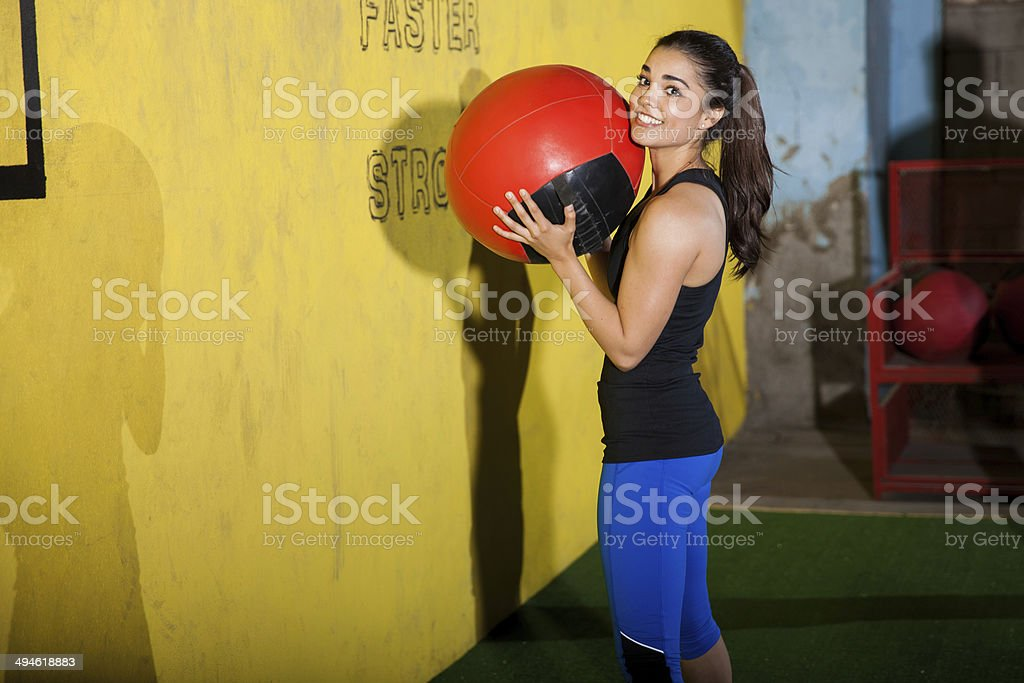 Portrait with a medicine ball stock photo