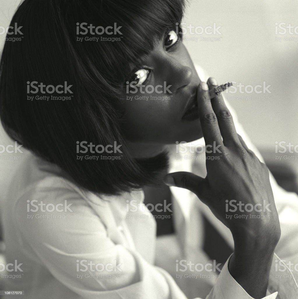 portrait with cigarette stock photo