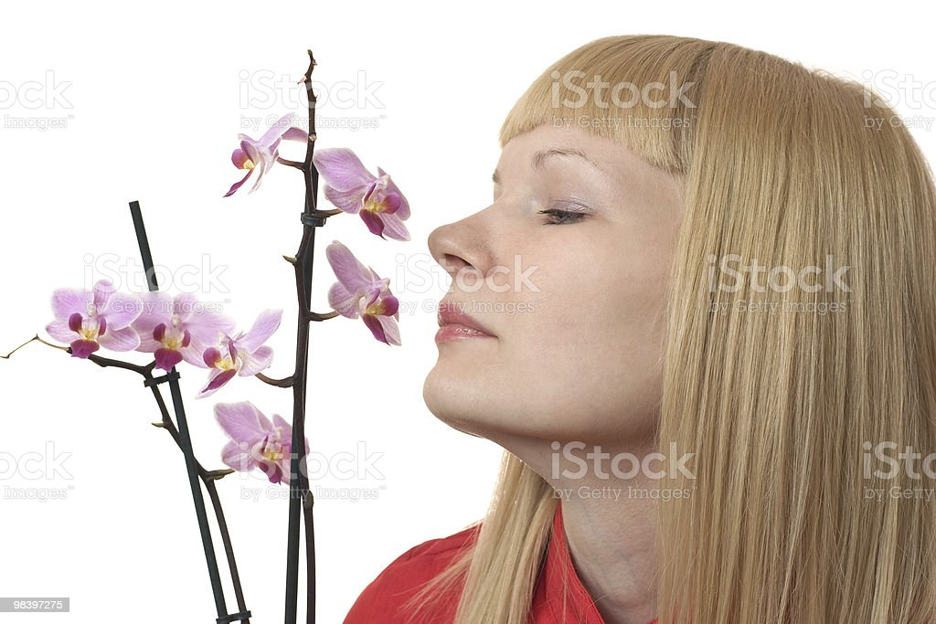 Portrait with orchid royalty-free stock photo